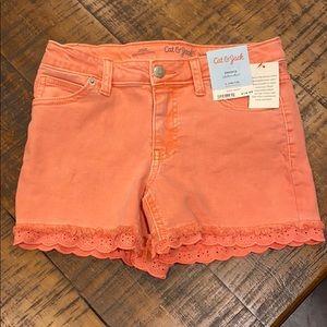 Girls Peach Jean Shorts. Large: 10/12